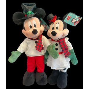 New Set Of Christmas Holiday Disney 24in Mickey Minnie Mouse Greeter White Dress